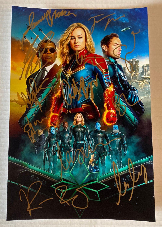 Captain Marvel cast signed autographed 8x12 photo Brie Larson autographs photograph