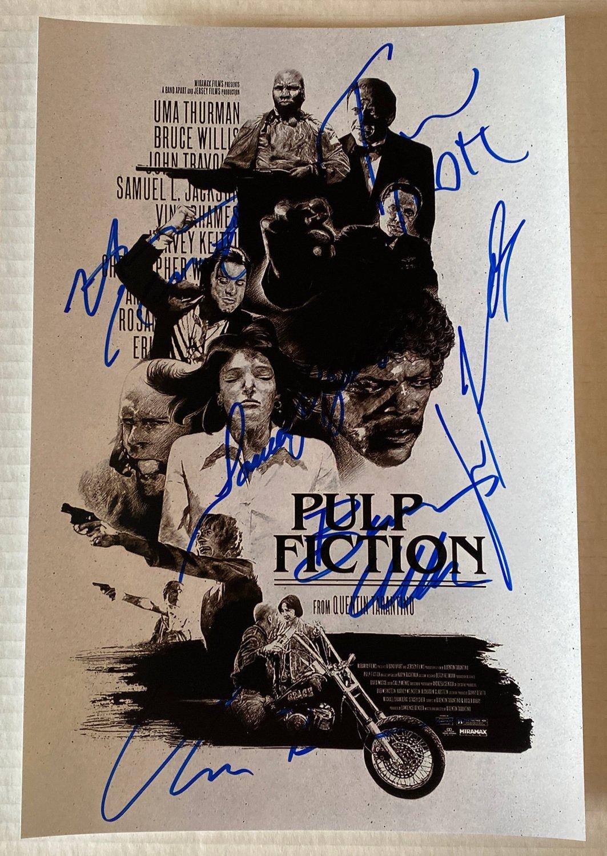 Pulp Fiction cast signed autographed 8x12 photo Uma Thurman John Travolta autographs