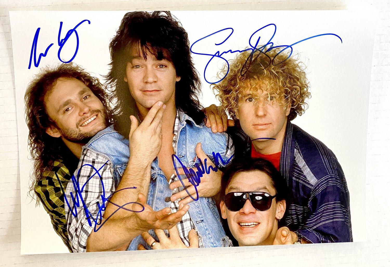 Eddie Van Halen band signed autographed 8x12 photo Sammy Hagar autographs