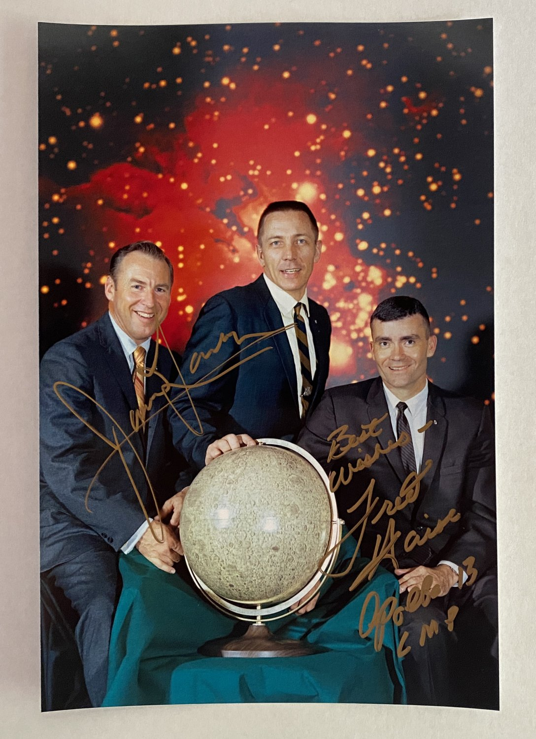 Apollo 13 crew James Jim Lovell Fred Haise dual signed autographed 8x12 photo astronauts