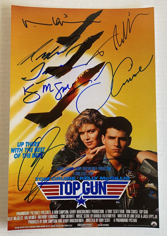 Top Gun cast signed autographed 8x12 photo Tom Cruise Val Kilmer Kelly McGillis