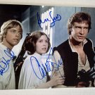 Star Wars A New Hope cast signed autographed 8x12 photo Harrison Ford Carrie Fisher autographs