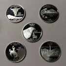 2007-S Proof Silver Statehood Quarters - Deep Cameo - All 5 States - Free Ship!