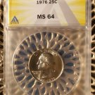 1976 Clad Washington Quarter ANACS MS64 Philadelphia Mint