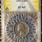 1954-D Silver Washington Quarter (25C) ANACS Certified EF40 (Extra Fine)