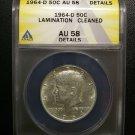 1964 D Silver Kennedy Half Dollar Mint Error - Lamination ANACS Certified AU58