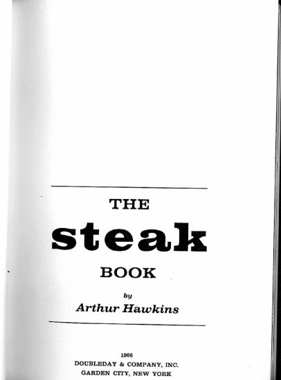 Steak Book Cookbook Hawkins Vintage 1966 Beef Meat Recipe Cook Book