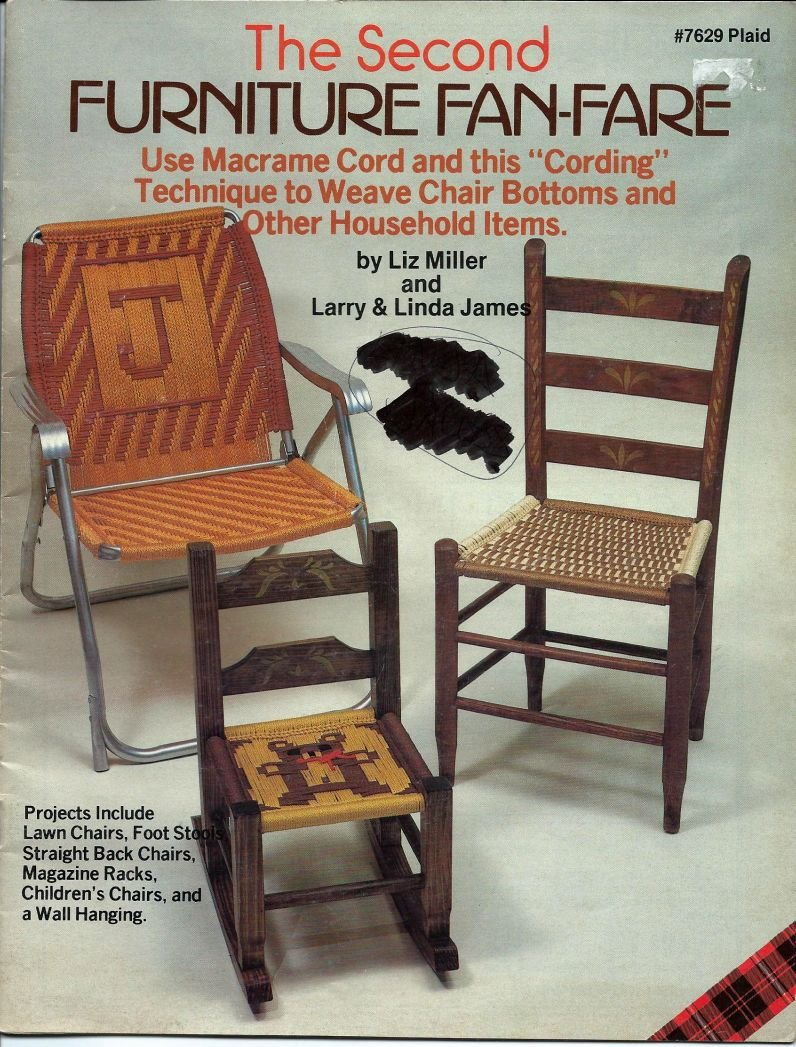 Second Furnitue Fan-Fare Use Macrame Cord to Weave Chair Bottoms Plaid 7629 Craft Book