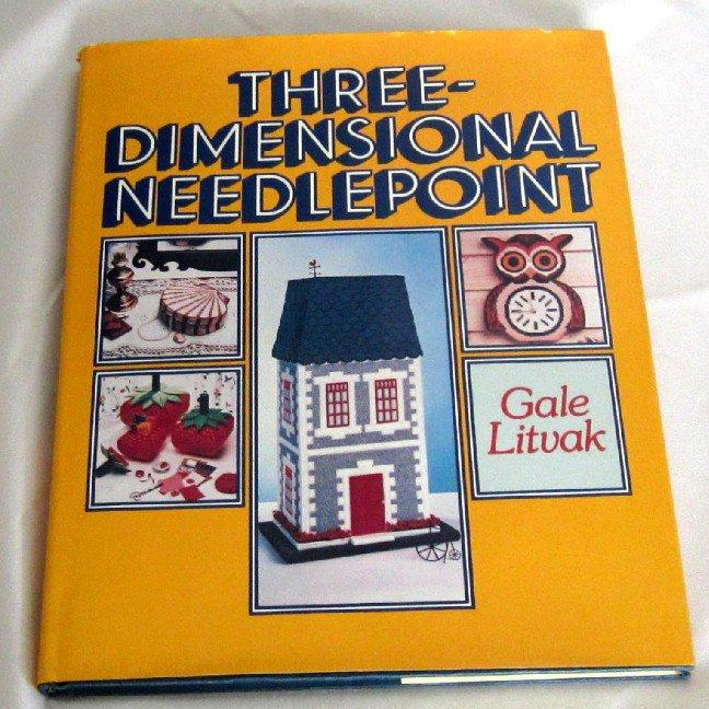 Three 3 Dimensional Needlepoint Litvak vintage plastic canvas instruction book hc+dj