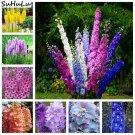 200 Pcs Giant Delphinium Flowers Colourful Rocket Larkspur Plants For