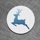 Cross stitch pattern Blue Christmas Deer