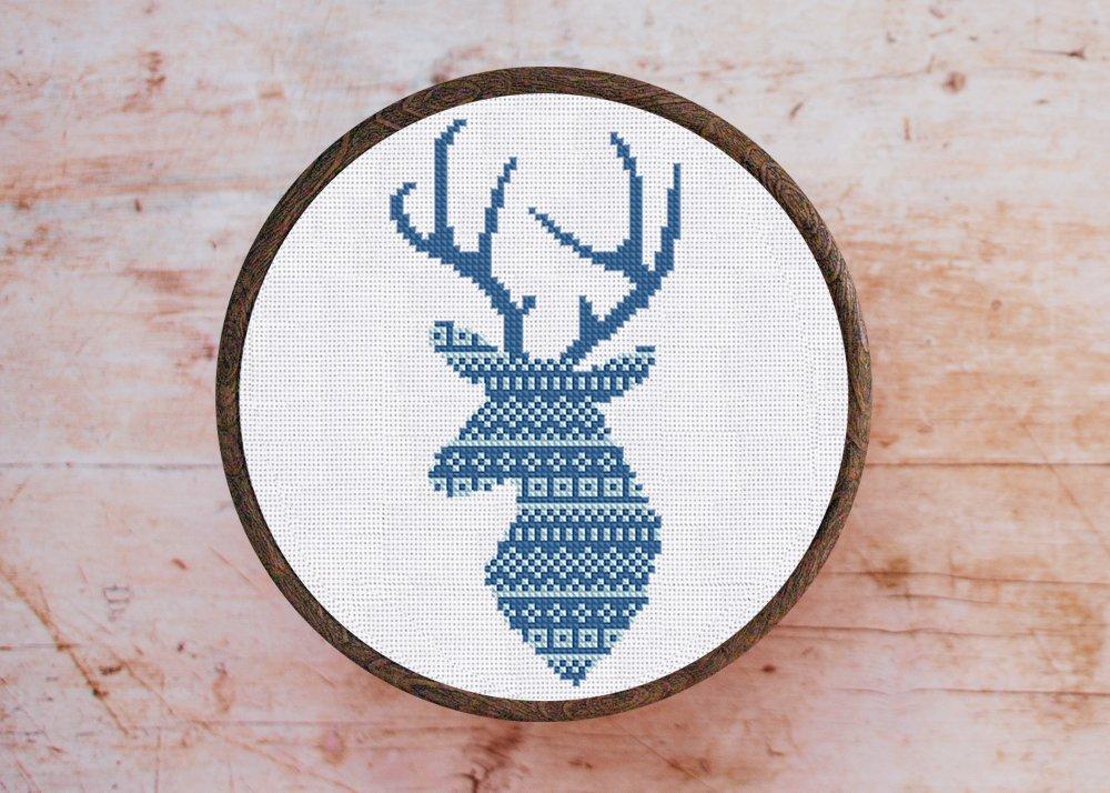 Cross stitch pattern Blue Deer Ornament