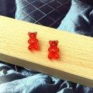 Handmade Red Gummy Bear Stud Earring Candy Food Kawaii Cute Japanese Korean Party Womens Girls