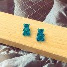 Handmade Blue Gummy Bear Stud Earring Candy Food Kawaii Cute Japanese Korean Jewelry Womens Girls