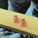 Handmade pink Gummy Bear Stud Earring Candy Food Kawaii Cute Japanese Korean Jewelry