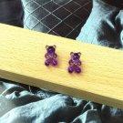 Handmade Purple Gummy Bear Stud Earring Candy Food Kawaii Cute Japanese Korean Jewelry