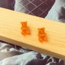Handmade Orange Gummy Bear Stud Earring Candy Food Kawaii Cute Japanese Korean Jewelry