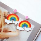 Handmade Exaggerated Rainbow Clouds Colorful Acrylic Drop Earrings Kawaii Japanese Korean