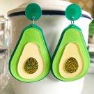 Handmade Exaggerated Green Avocado Glitter Acrylic Drop Earrings Kawaii Japanese Korean