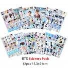 12 Packs BTS Bangtan Boys Sticker Sheet Decal Stationery School Supplies Scrapbooking Kpop