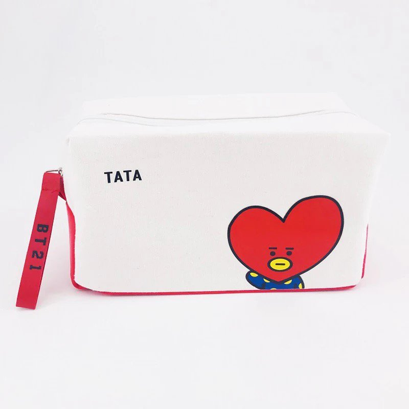 BTS Bangtan Boys BT21 Tata Pencil Case Stationery Pouch Bag School Supplies Kpop Canvas