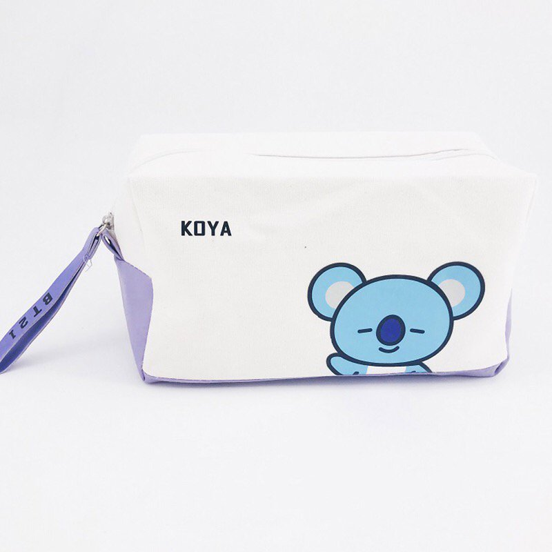 BTS Bangtan Boys BT21 Koya Pencil Case Stationery Pouch Bag School Supplies Kpop Canvas