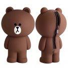 Line 3D Brown Bear Cartoon Pencil Case Container Bags Kawaii Cute School Supplies Stationery