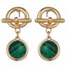 Golden Charm Emerald Adventurine Green Stone Drop Earrings Small Cute Elegant Dangle