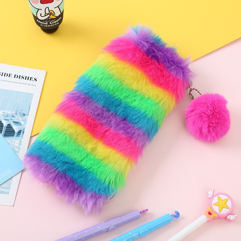 Cute Rainbow Stripe Fluffy Furry Pencil Case Girls Soft Plush Bag Pouch Stationery School Supplies
