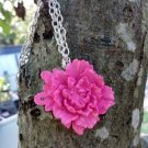 Elegant pink rose pendant necklace