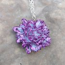 Purple glitter rose pendant necklace