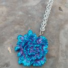 Purple/Blue Rose pendant necklace