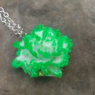 white/green rose pendant necklace
