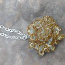 White/Gold rose pendant necklace