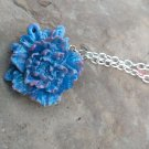 sky blue rose pendant necklace