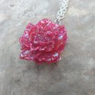 Cherry Red rose pendant necklace