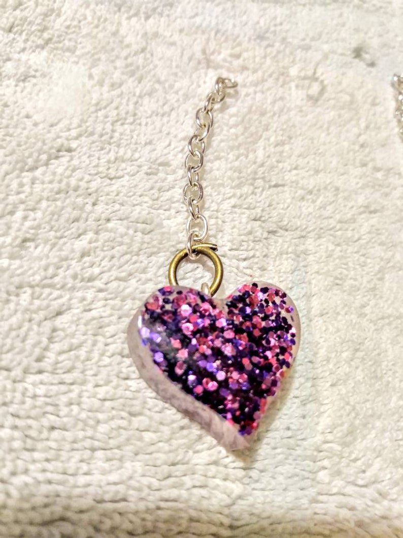 Purple Glitter heart keychain