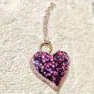 Purple Glitter heart keychain