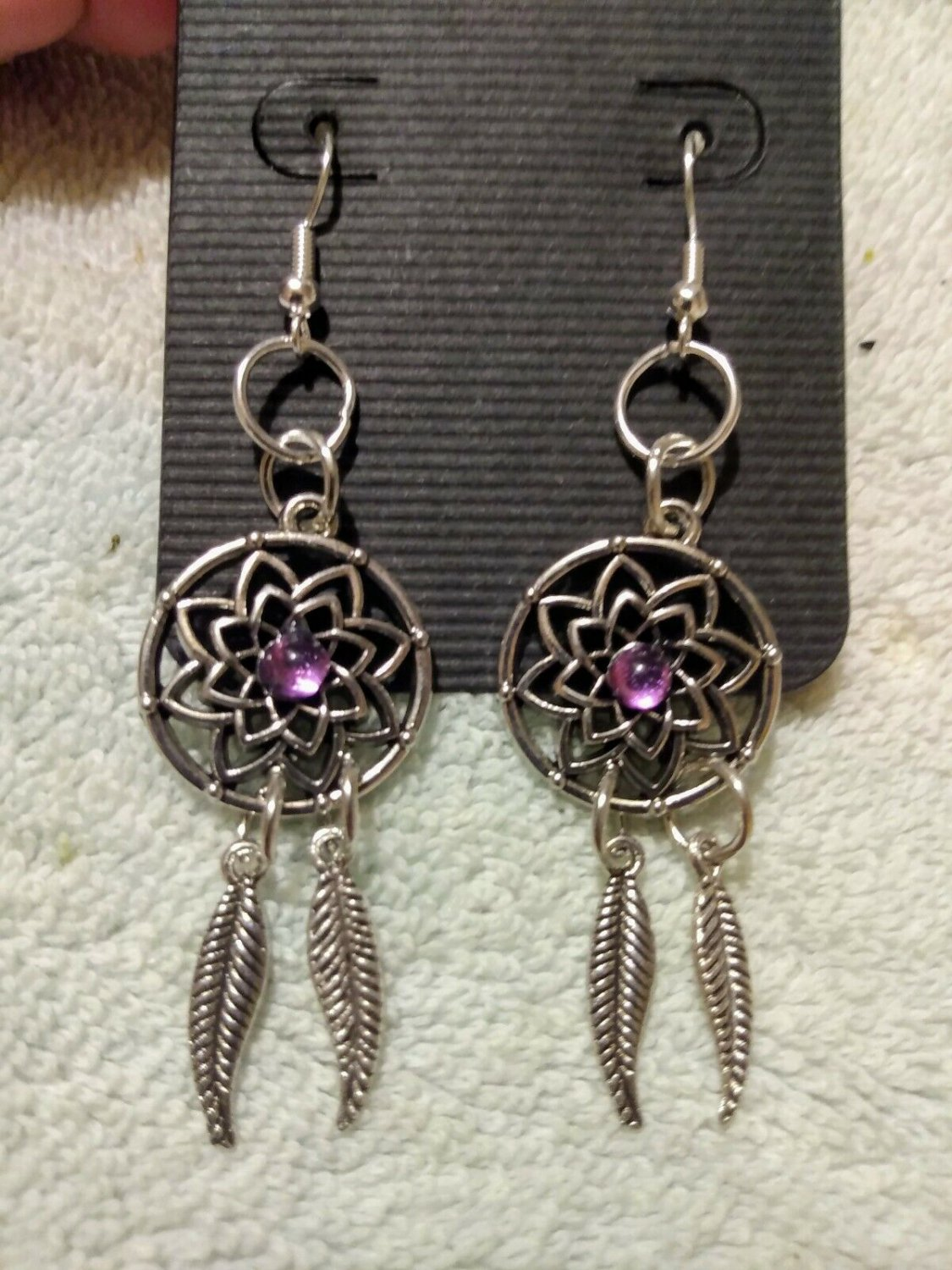 Dream Catchers With Detailed Feather Dangle 925 Sterling Silver Hook Earrings