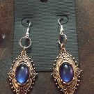 Blue Sapphire & White Topaz 925 Solid Sterling Silver Earrings Jewelry