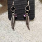 Southwestern Concho Earrings 925 Sterling Silver With Feather Dangles