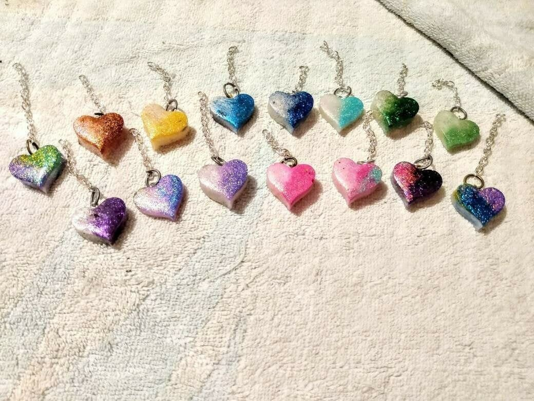 Color Faded heart keychain