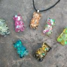 7 Colors Bear Pendants Keychain Resin Gummy Bear Pendant Necklace