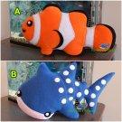 Clown Fish Whale Shark  Fleece Soft Toy Pillow Dog Plush Handmade Birthday Gift Nursery Decor
