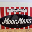 """MoorMans 14x20"""" Vintage Feed  Agricultural Advertising Tin Sign Pigs Cattle"""