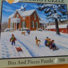 "Jigsaw Puzzle 500 Piece ""Smooth Sledding"" Bits and Pieces"
