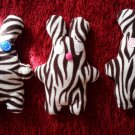 Zebra-pattern handmade and uniquely designed stuffy bunny: white eyes and pink nose