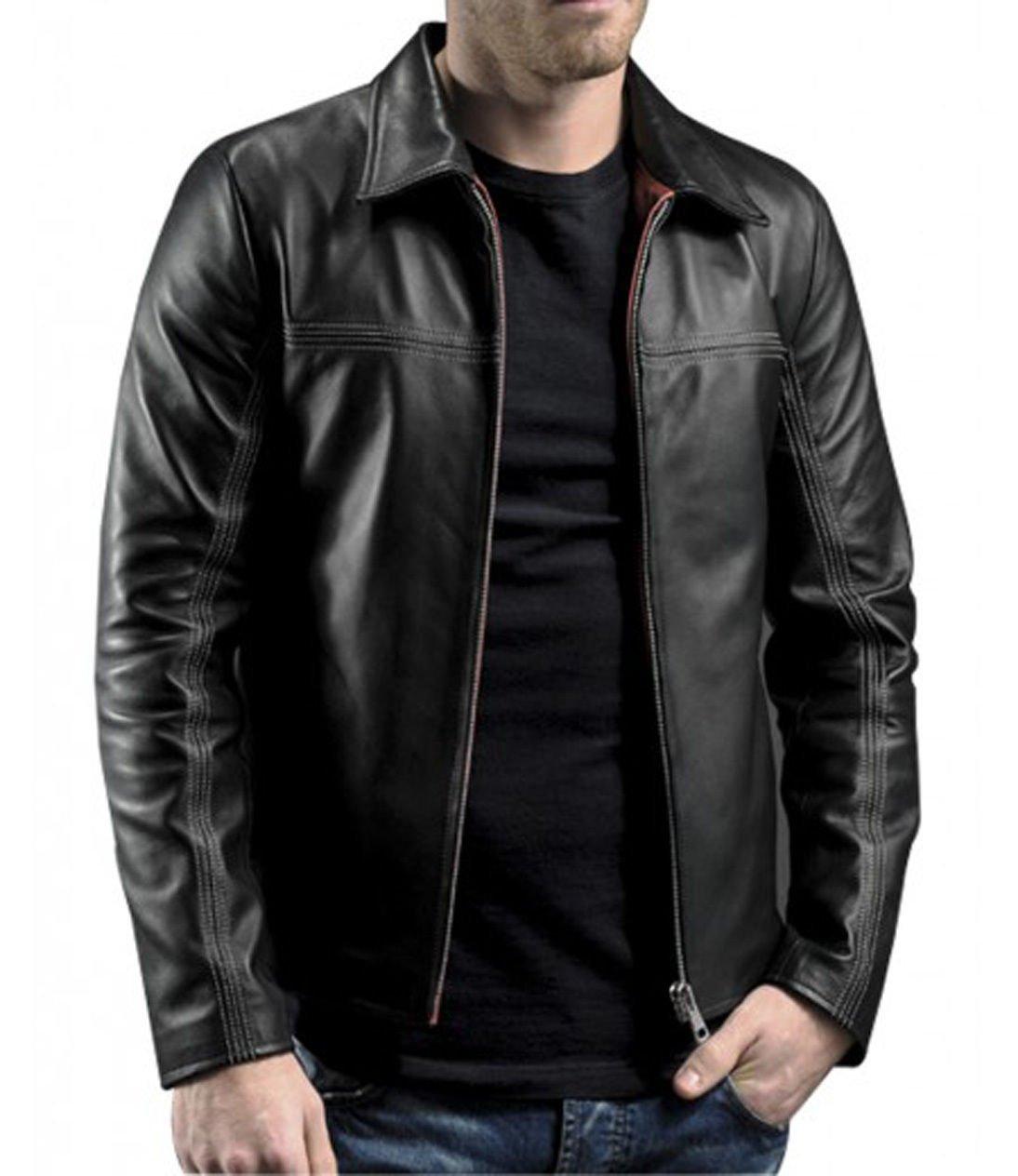 LAYER CAKE Mr X Daniel Black Vintage Slim Fit Motorcycle Men's Leather Jacket