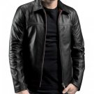 LAYER CAKE Mr X Daniel Black Vintage Slim Fit Motorcycle Men's Leather Jacket