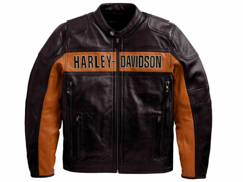 Men's Real Black Genuine Leather Biker Jacket Harley Davidson Motorcycle